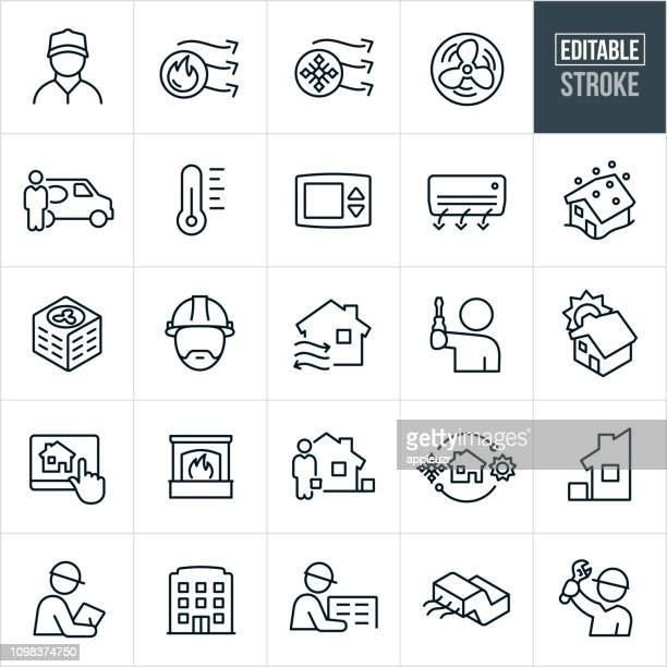 heating and cooling line icons - editable stroke - blizzard stock illustrations