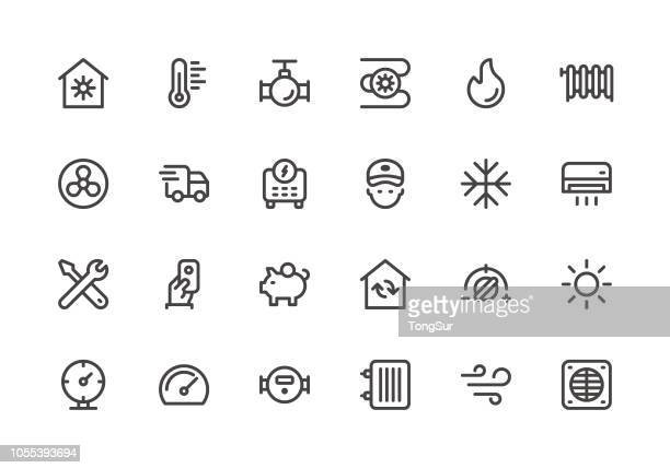 heating and cooling - line icons - water meter stock illustrations, clip art, cartoons, & icons