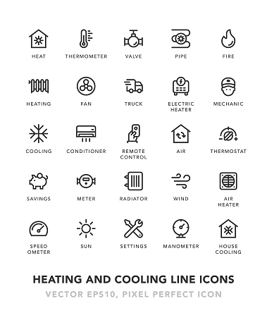 Heating and Cooling Line Icons - gettyimageskorea