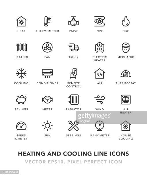 heating and cooling line icons - fire natural phenomenon stock illustrations, clip art, cartoons, & icons