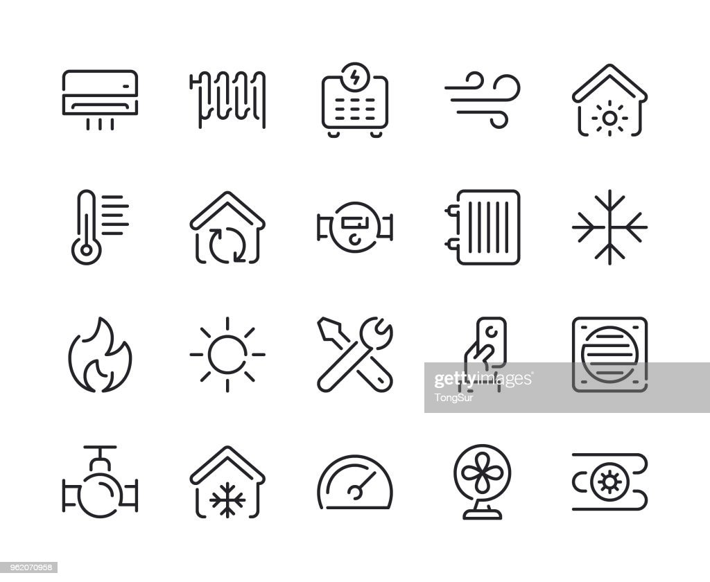 Heating and Cooling Line Icons : Stock Illustration