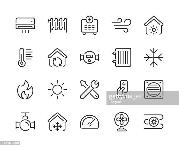 heating and cooling line icons - electric fan stock illustrations