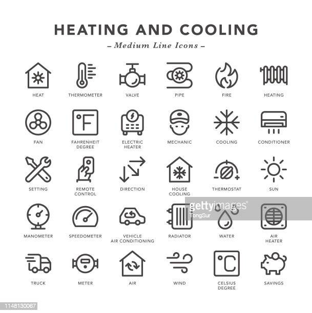 heating and cooling - medium line icons - electric heater stock illustrations, clip art, cartoons, & icons