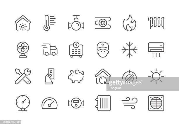 heating and cooling - regular line icons - electric fan stock illustrations