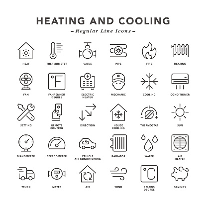 Heating and Cooling - Regular Line Icons - gettyimageskorea