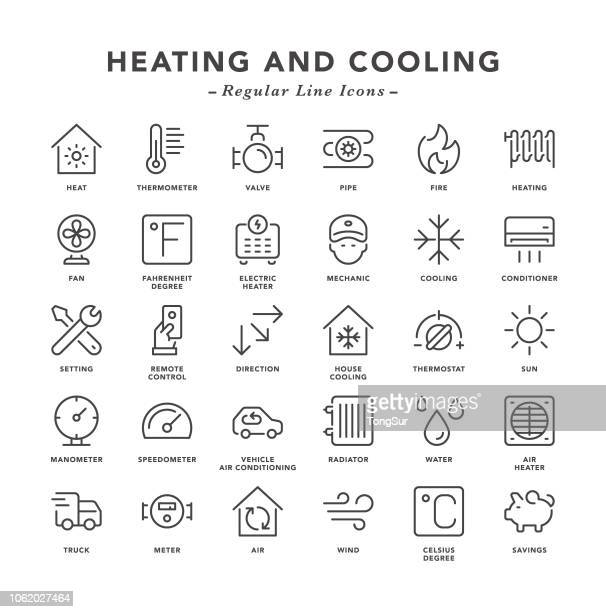 heating and cooling - regular line icons - temperature stock illustrations