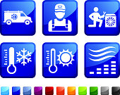 Heating and Cooling System Repair vector icon set stickers