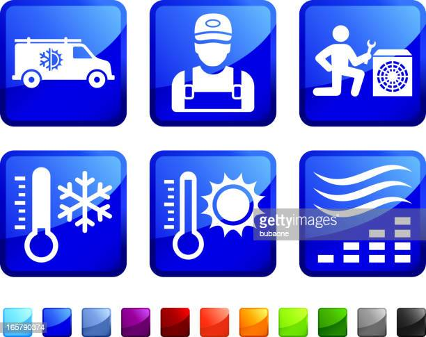heating and cooling system repair vector icon set stickers - electric heater stock illustrations, clip art, cartoons, & icons