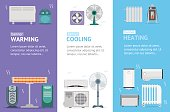Heating, Cooling and Warming Devices Banner Card Vecrtical Set. Vector