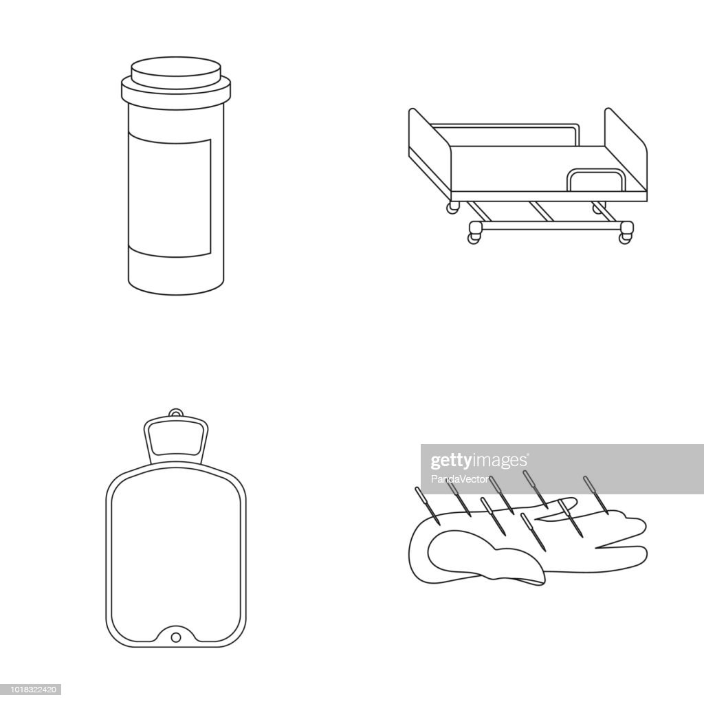 Heating pad, hospital gurney, acupuncture.Mtdicine set collection icons in outline style vector symbol stock illustration web.