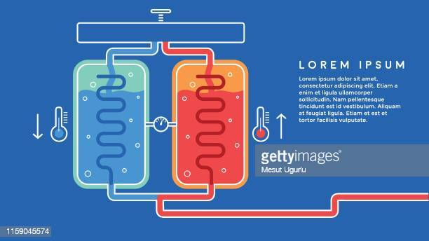 heating systems - water tower storage tank stock illustrations