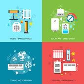 Heatingand conditioning icons set.