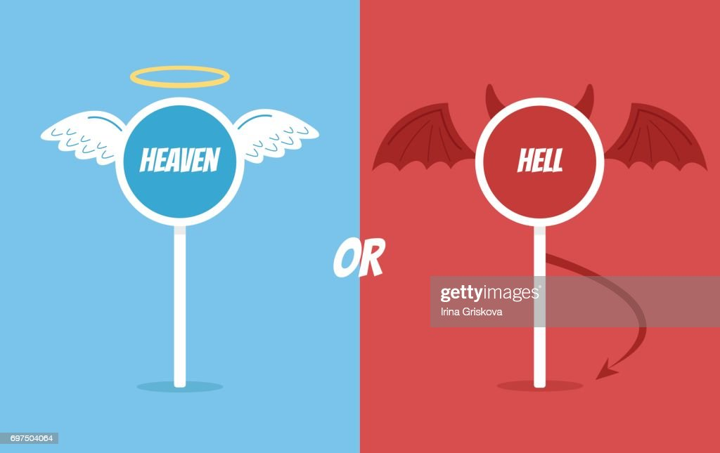 Heaven or hell road sign
