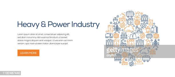 heavy and power industry banner template with line icons. modern vector illustration for advertisement, header, website. - petrochemical plant stock illustrations, clip art, cartoons, & icons