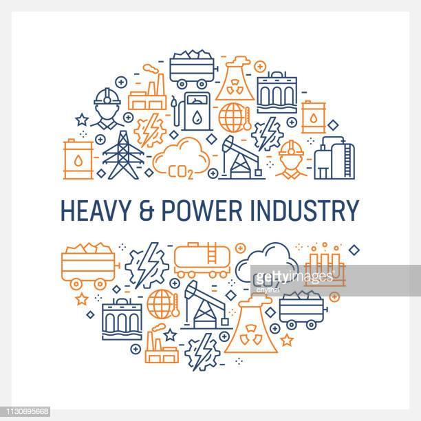 ilustrações, clipart, desenhos animados e ícones de conceito de indústria pesada e poder - ícones coloridos linha, disposto em círculo - fábrica petroquímica
