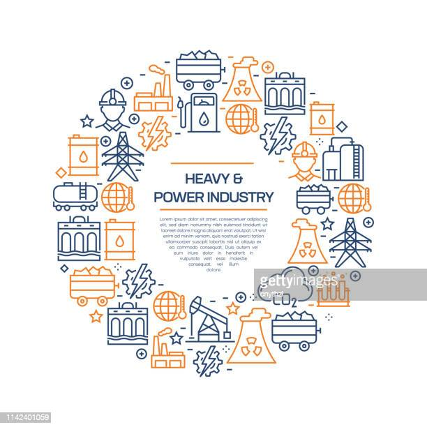 heavy and power industry concept - colorful line icons, arranged in circle - petrochemical plant stock illustrations, clip art, cartoons, & icons