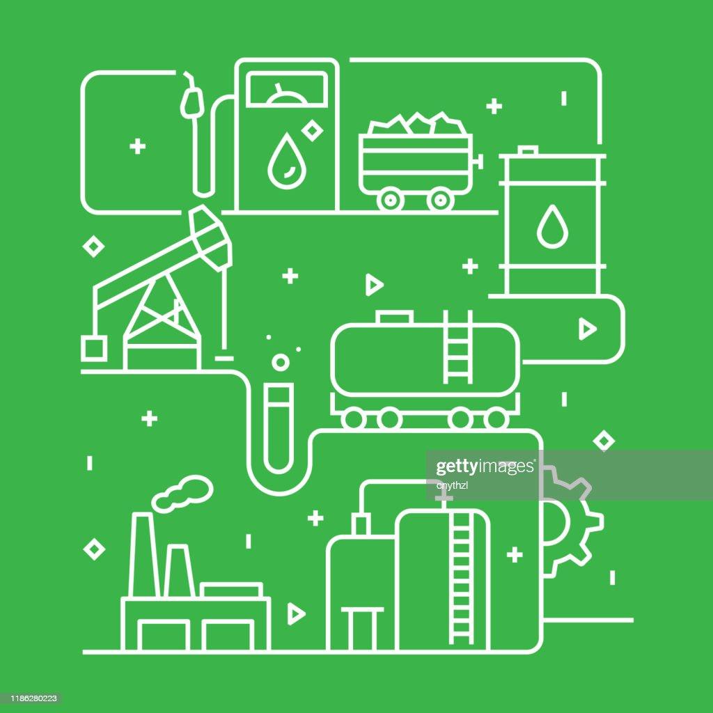 Modelo de design de conceito da indústria de energia pesada. Esboço símbolo abstrato : Ilustração