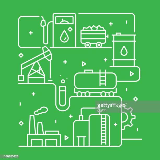 ilustrações, clipart, desenhos animados e ícones de modelo de design de conceito da indústria de energia pesada. esboço símbolo abstrato - fábrica petroquímica