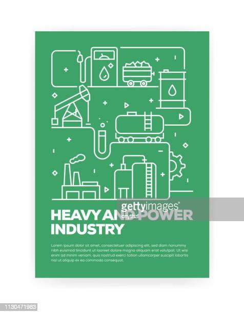 ilustrações, clipart, desenhos animados e ícones de indústria pesada e poder conceito design capa de estilo de linha para anual relatório, flyer, folheto. - fábrica petroquímica