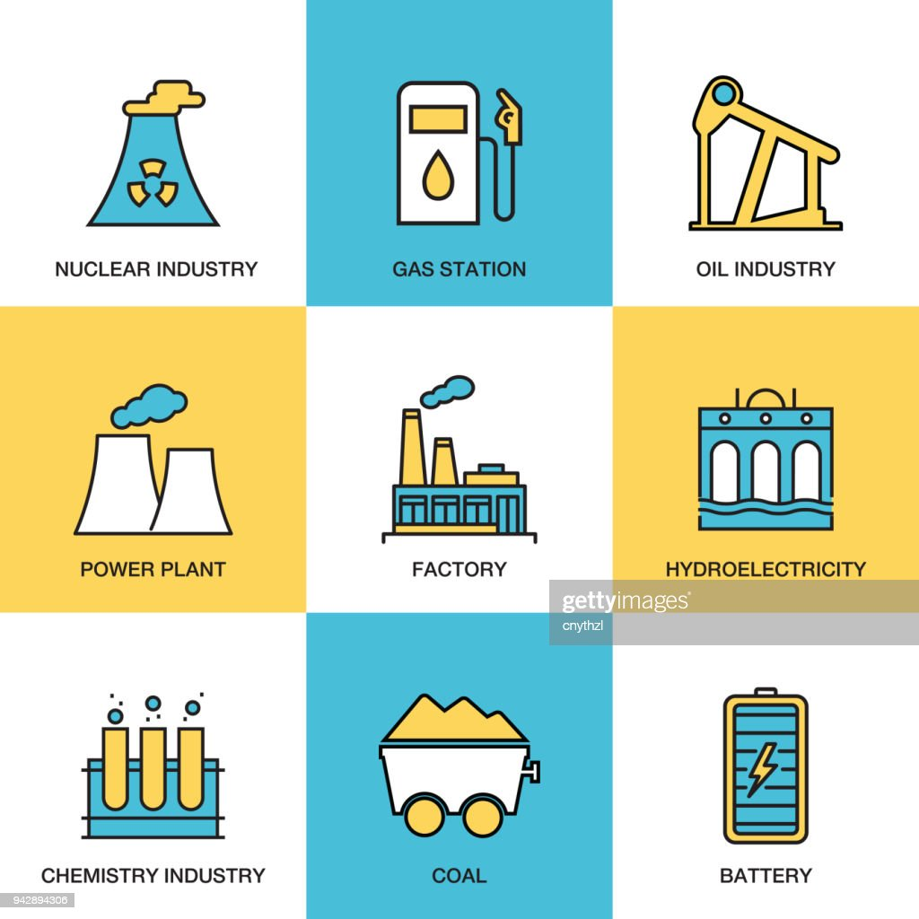 Heavy and Power Industry Icon Set : stock illustration