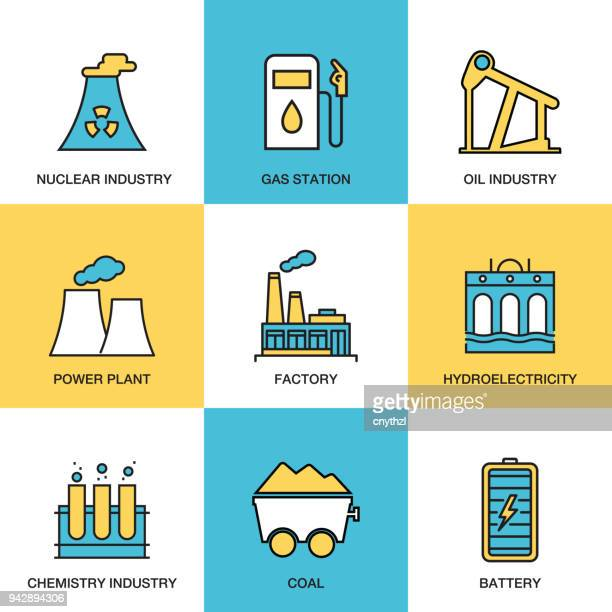 heavy and power industry icon set - fuel station stock illustrations, clip art, cartoons, & icons
