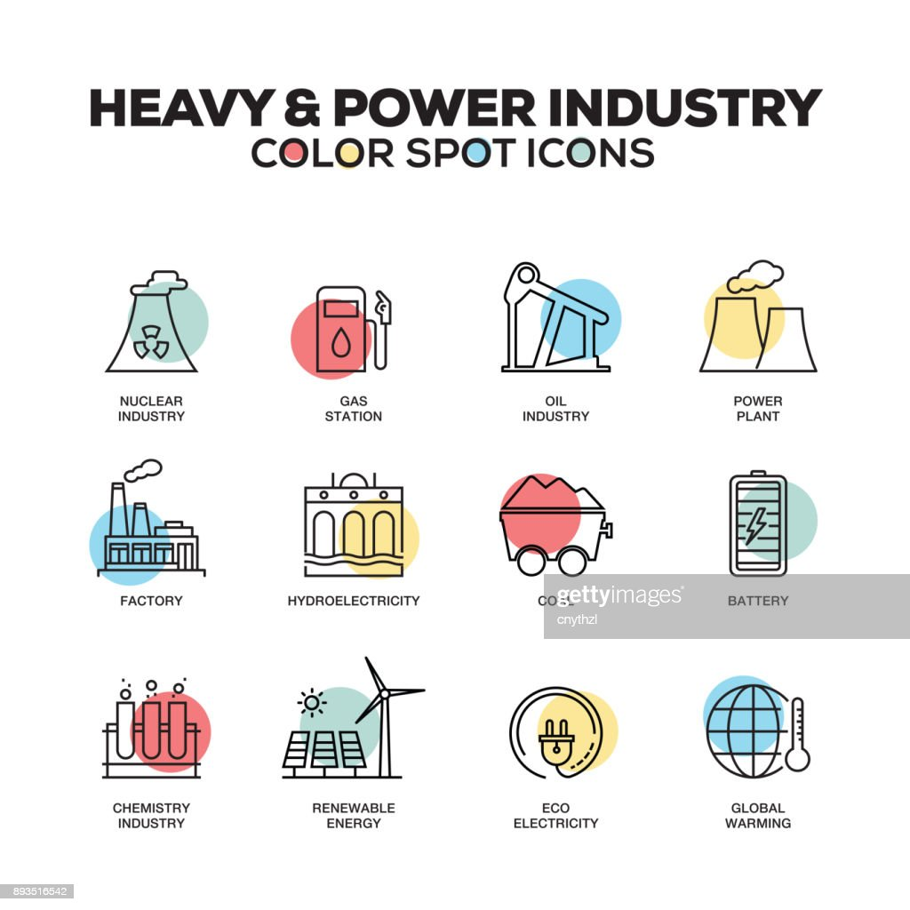Heavy And Power Industry Icons Vector Line Icons Set Premium Quality