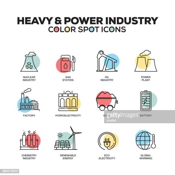 Heavy and Power Industry icons. Vector line icons set. Premium quality. Modern outline symbols and pictograms.