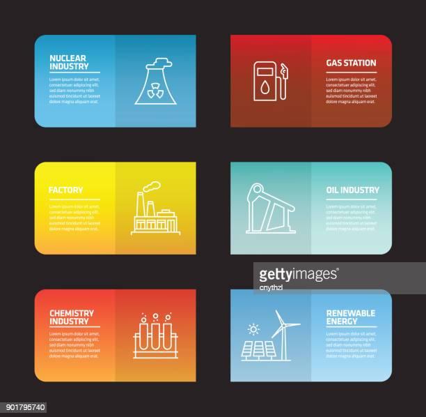 ilustraciones, imágenes clip art, dibujos animados e iconos de stock de plantilla de diseño de infografía de la industria pesada y de la energía - torre petrolera