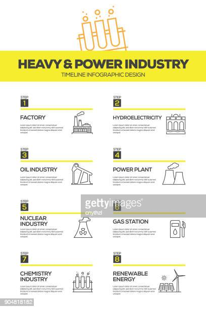 heavy and power industry infographic design template - petrochemical plant stock illustrations, clip art, cartoons, & icons