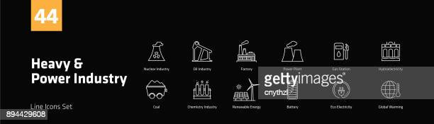 heavy and power industry line icons set - fuel station stock illustrations, clip art, cartoons, & icons