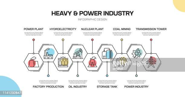 heavy and power industry related line infographic design - petrochemical plant stock illustrations, clip art, cartoons, & icons