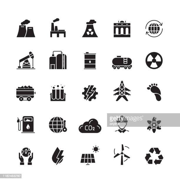 ilustrações, clipart, desenhos animados e ícones de ícones relacionados do vetor da indústria pesada e do poder - fábrica petroquímica