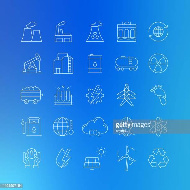 ilustrações, clipart, desenhos animados e ícones de ícones da linha de vetores relacionados à indústria de energia e pesada - curso editável - fábrica petroquímica