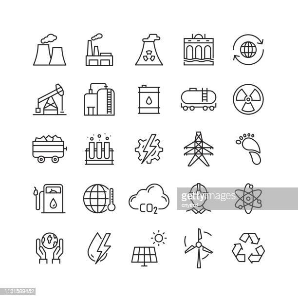 heavy and power industry related vector line icons - plant stock illustrations