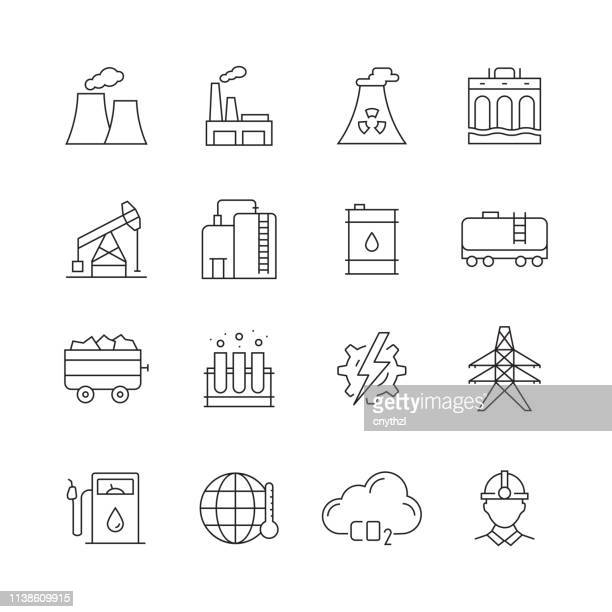 heavy and power industry - set of thin line vector icons - petrochemical plant stock illustrations, clip art, cartoons, & icons