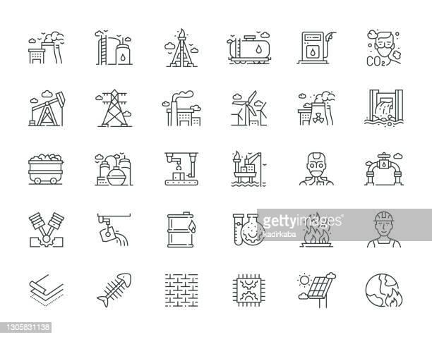 ilustrações, clipart, desenhos animados e ícones de série de conjunto de ícones de linha fina da indústria pesada e elétrica - fábrica petroquímica