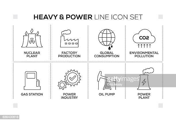 Heavy and Power keywords with monochrome line icons