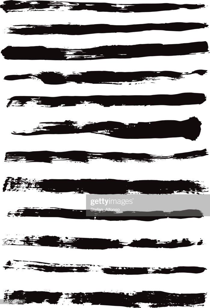 Heavy brush strokes isolated on white