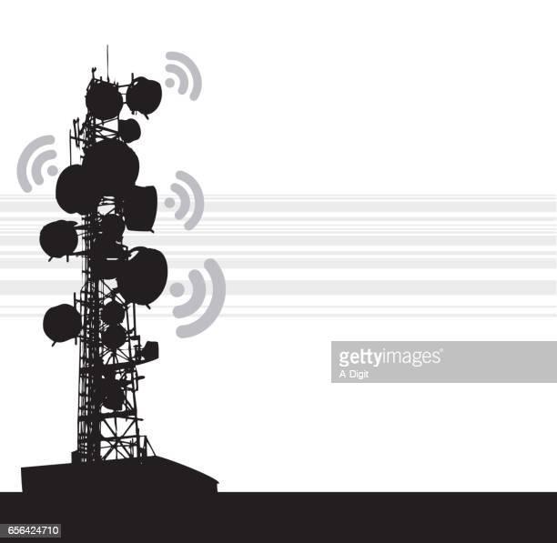 ilustraciones, imágenes clip art, dibujos animados e iconos de stock de torre de comunicación de pesado - torres de telecomunicaciones