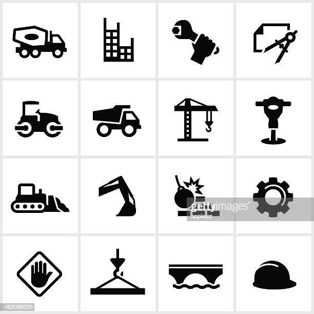 heavy construction icons - demolished stock illustrations