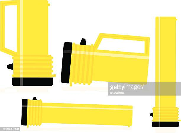 heavy duty and regular flashlights in various positions - flashlight stock illustrations, clip art, cartoons, & icons