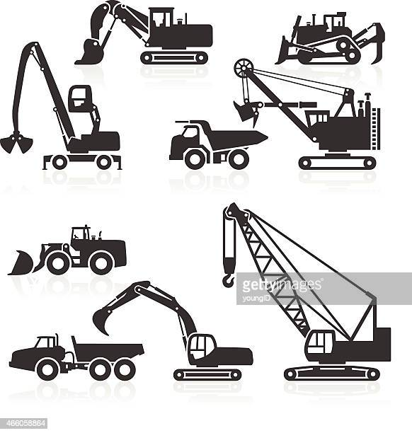 Heavy duty construction vehicles icons