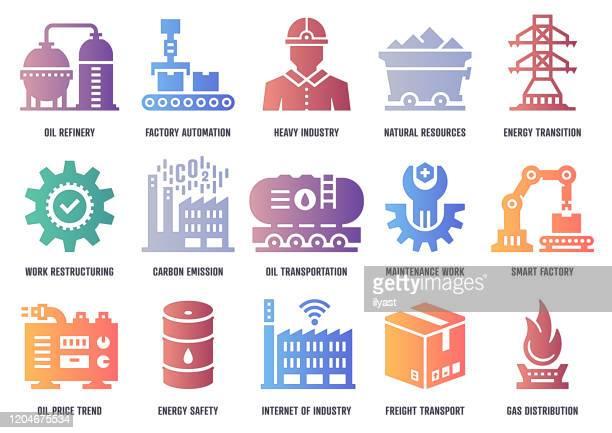 ilustrações, clipart, desenhos animados e ícones de pacote de ícones do vetor da indústria de serviço pesado com profundidade de sombra interior - fábrica petroquímica