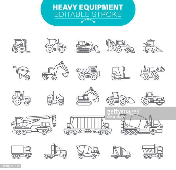 heavy equipment icons. editable stroke. in set icons as construction, mining machines, tractors, illustration - earth mover stock illustrations
