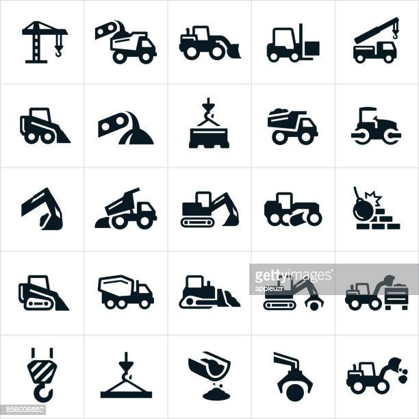 heavy equipment icons - tractor stock illustrations