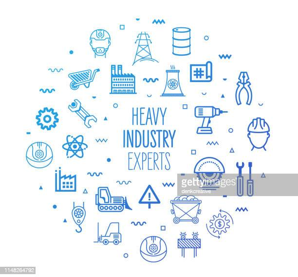 heavy industry experts outline style infographic design - metal industry stock illustrations