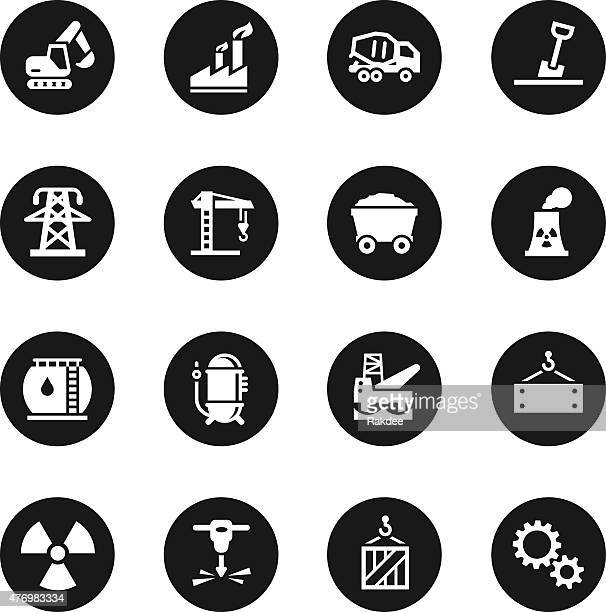 heavy industry icons black circle series - water treatment stock illustrations, clip art, cartoons, & icons