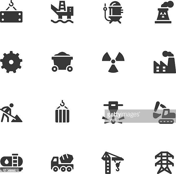 heavy industry icons - steel cable stock illustrations