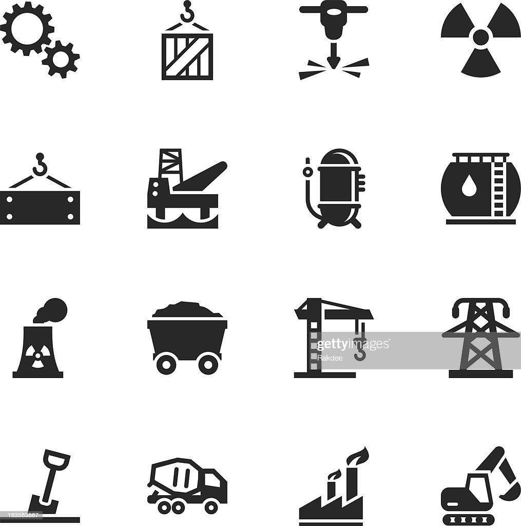 Heavy Industry Silhouette Icons : stock illustration