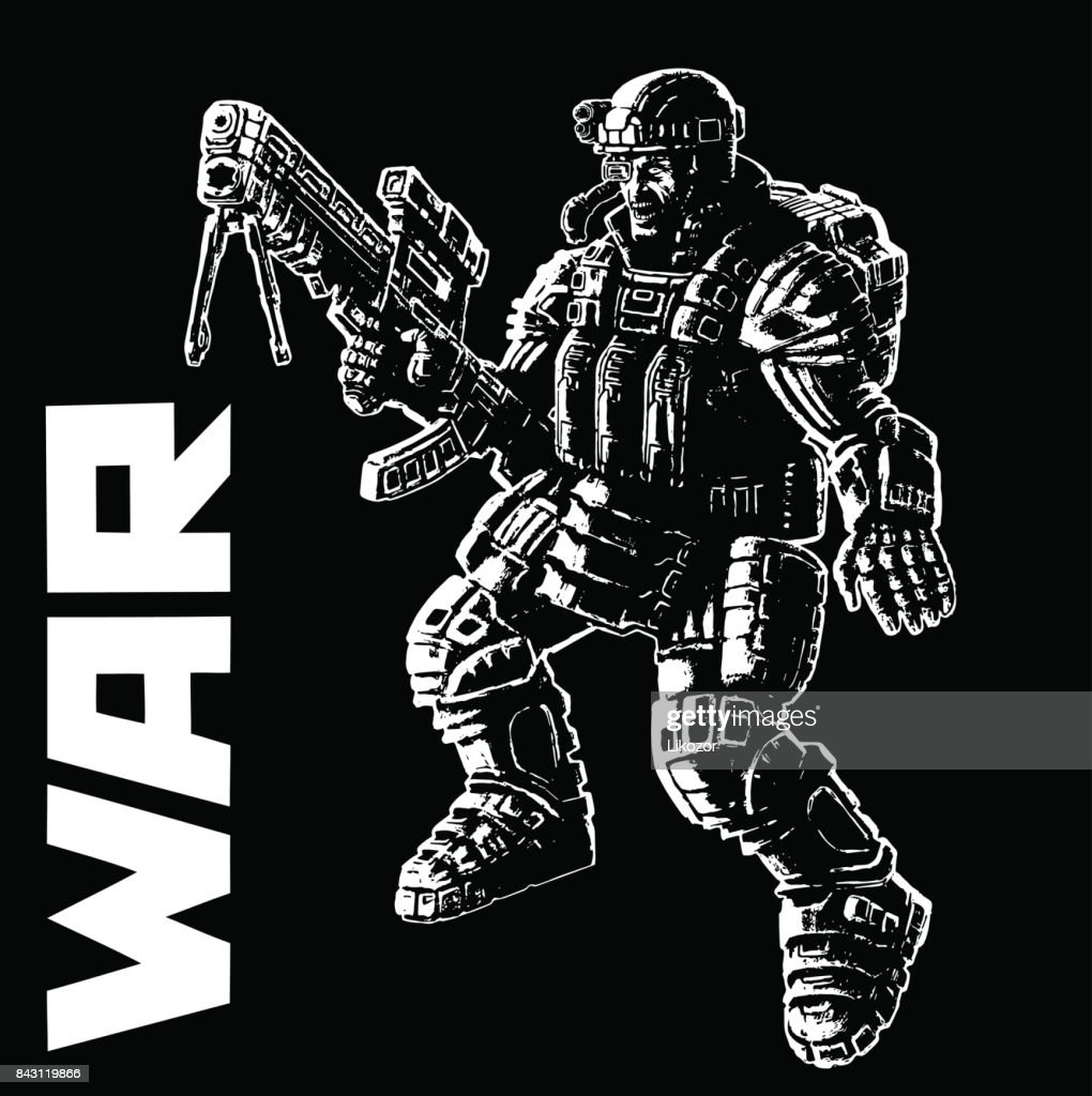 Heavy infantry in armor suit. Vector illustration.